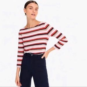 J. CREW Boat Neck Striped Cotton Casual Shirt